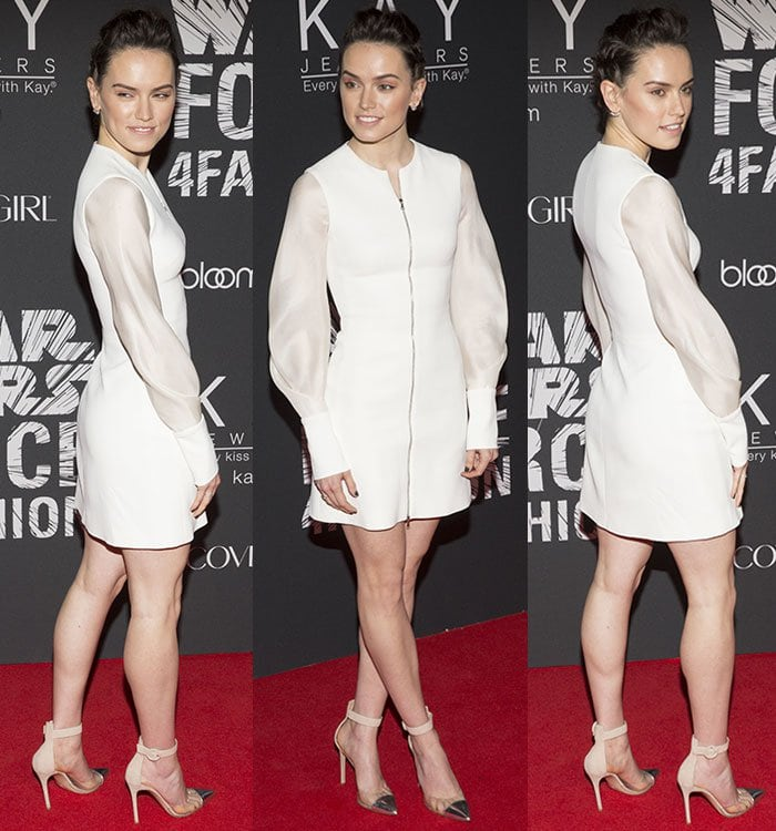Daisy Ridley flaunts her sexy legs in a white dress by David Koma