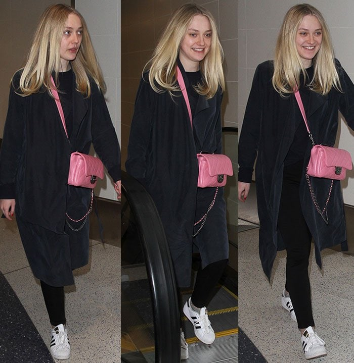 Dakota Fanning goes makeup-free and wears her blonde hair down at LAX