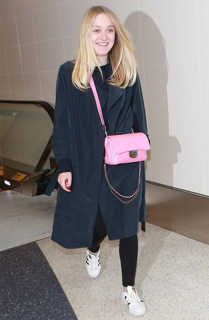 Dakota Fanning departs from Los Angeles International Airport