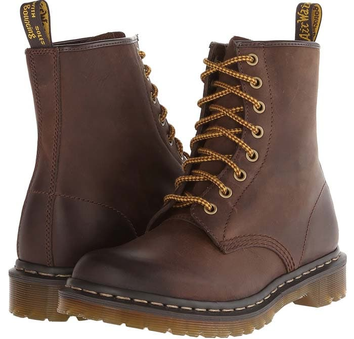 """Dr. Martens """"1460 W 8-Eye"""" Boot in Dark Brown Burnished Wyoming"""