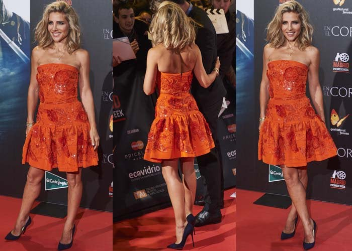 """Elsa Pataky wears a vibrant orange dress to the premiere of """"In the Heart of the Sea"""""""