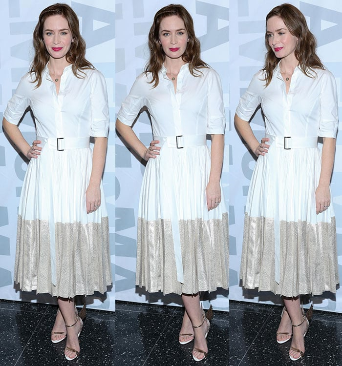 Emily Blunt wears a Lela Rose dress with a pair of gold-and-white heels
