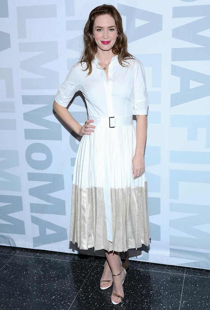 Emily Blunt wears a summery Lela Rose dress to a winter event