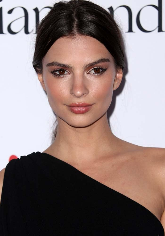Emily Ratjkowski wears her hair up at the 2nd Annual Diamond Ball hosted by Rihanna