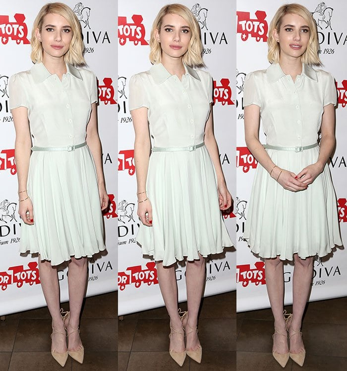Emma-Roberts-white-collared-dress-with-belt-1