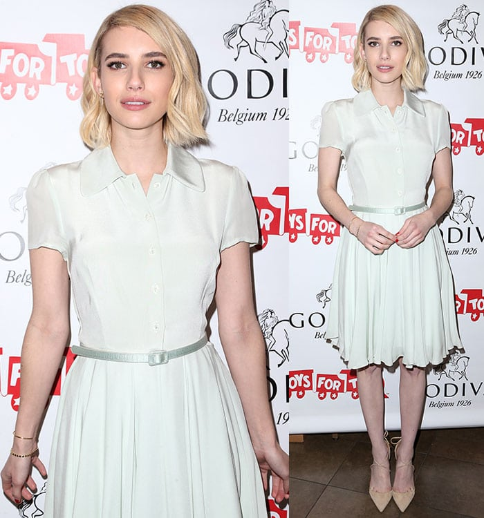Emma-Roberts-white-collared-dress-with-belt