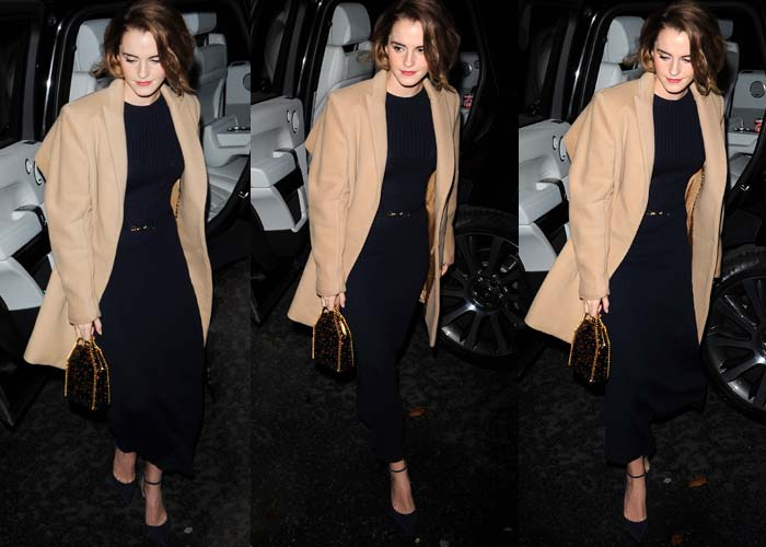 Emma Watson wears a Gabriele Hearst dress under a camel-colored coat