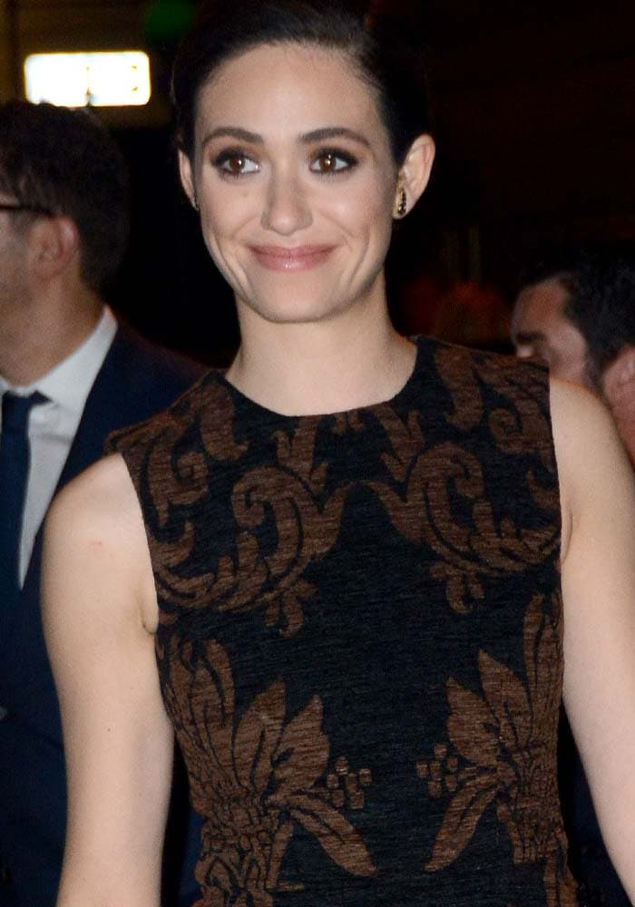Emmy Rossum wore an old-Victorian-inspired printed dress by Simone Rocha