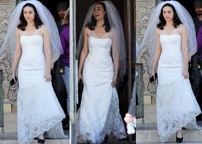 Emmy Rossum looked flawless in a simple lace wedding gown