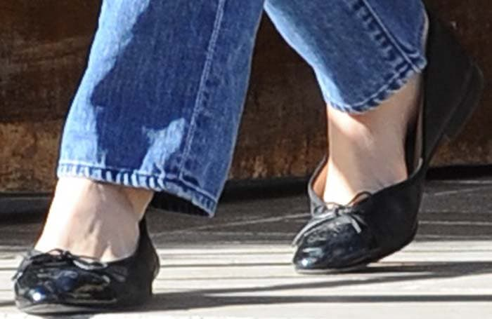 """Emmy Rossum's """"Cendrillon"""" black bow flats by Repetto"""