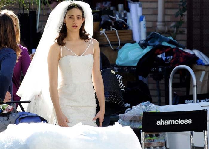 """Emmy Rossum films a wedding scene for """"Shameless"""""""