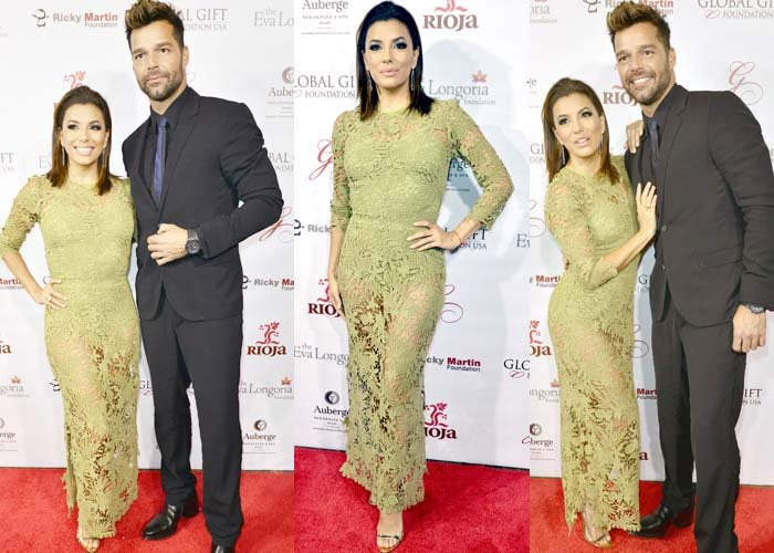 Eva Longoria and Ricky Martin pose together at the Global Gift Foundation Dinner