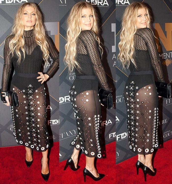 Fergie-Proenza-Schouler-grommet-sheer-skirt-mesh-top-bodysuit