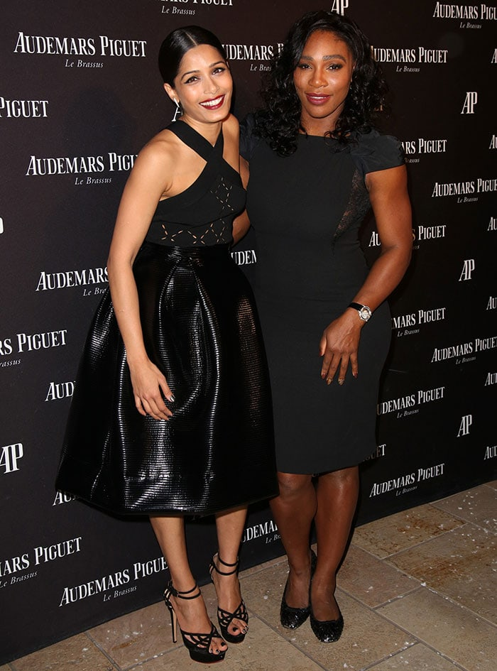 Freida Pinto poses with Serena Williams at the opening of Audemars Piguet Rodeo Drive