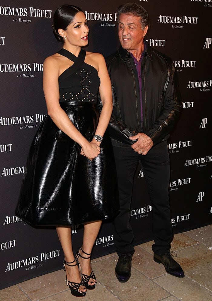 Freida Pinto poses with Sylvester Stallone at the opening of Audemars Piguet Rodeo Drive