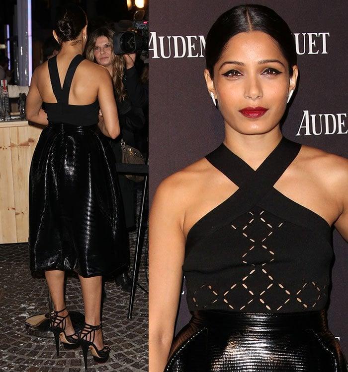 Freida-Pinto-black-top-leather-midi-skirt