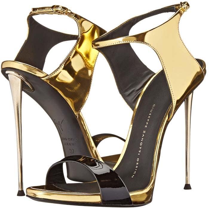 Giuseppe Zanotti Patent Metallic Ankle Strap Gold
