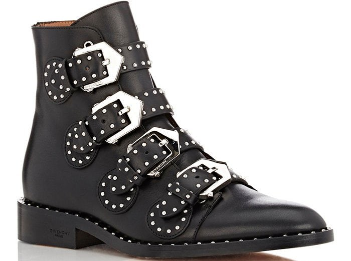 Givenchy-Studded-Buckle-Strap-Ankle-Boots