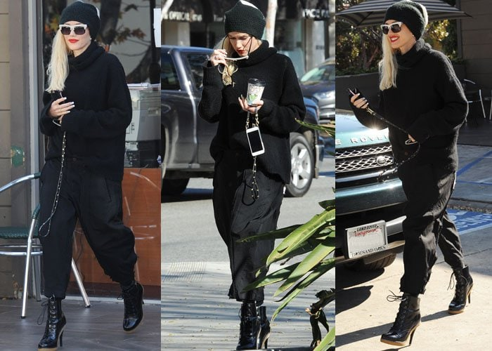 Gwen Stefani wears a turtleneck sweater and culottes out in Los Angeles