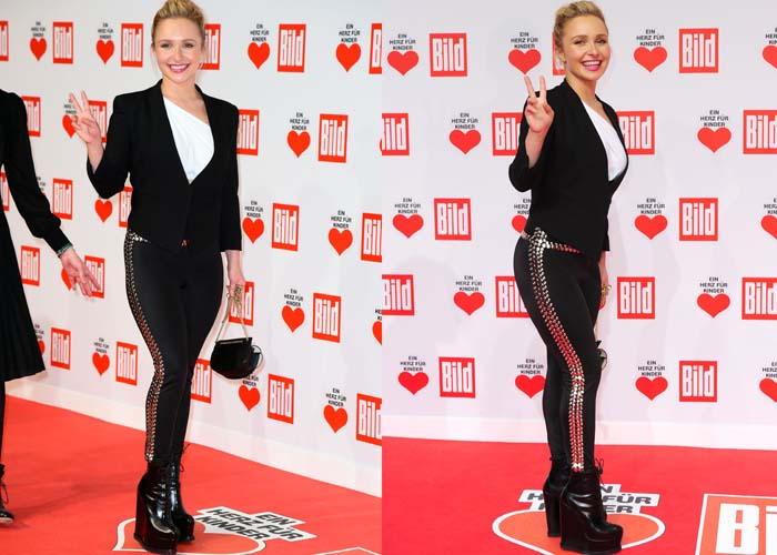 Hayden wore an outfit that was a bit reminiscent of Michael Jackson - silver-studded leggings, a white asymmetrical top, and a black blazer