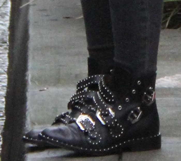 Hilary Duff Shows Off New Bob in Givenchy Studded Boots bdacf395ba03