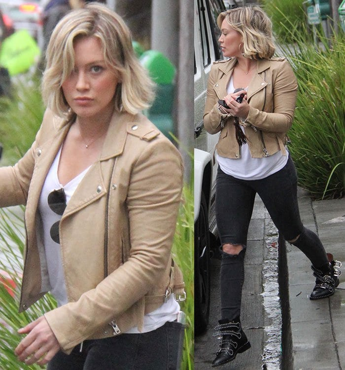 Hilary Duff wears an Iro leather jacket and a pair of J Brand jeans