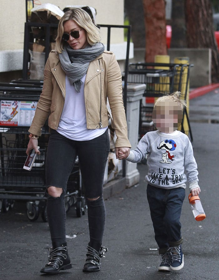 Hilary Duff wears an Iro jacket and J Brand skinny jeans while out with her son Luca