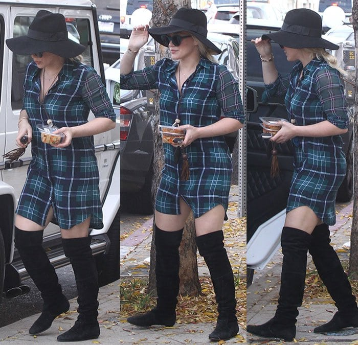 Hilary Duff pairs thigh-high boots with a plaid button-up shirtdress