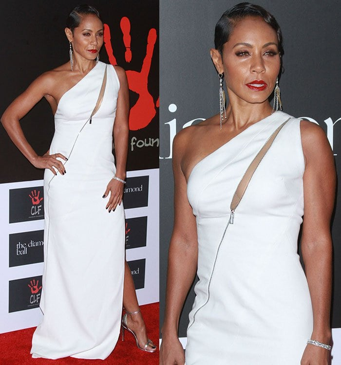 Jada Pinkett Smith shows off her cleavage in a white Zuhair Murad dress