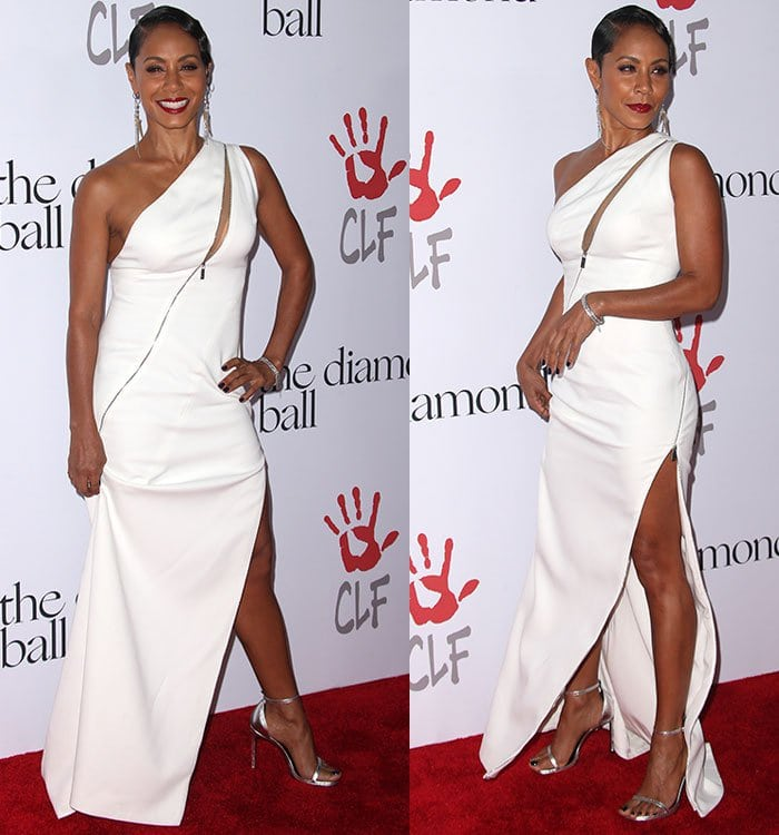 Jada Pinkett Smith shows off her silver jewelry and sandals