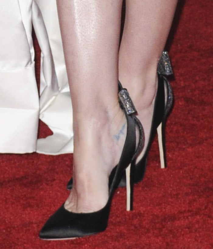 Jaime King's feet and tattoos in Brian Atwood pumps