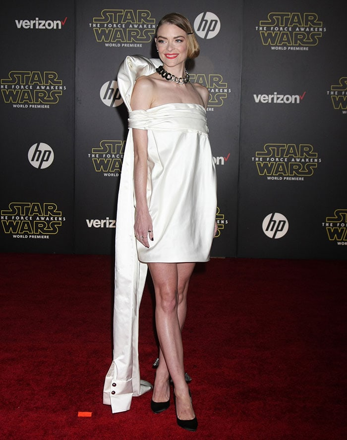 Jaime King wears a white Monse dress on the red carpet