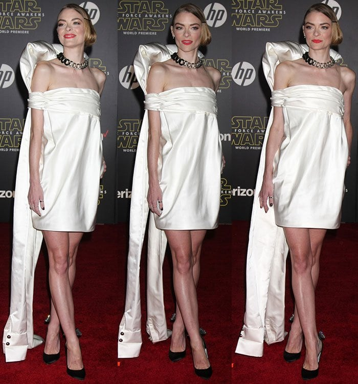 Jaime-King-futuristic-white-satin-asymmetric-dress