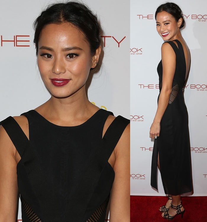 Jamie-Chung-black-dress-cutout-sides-back
