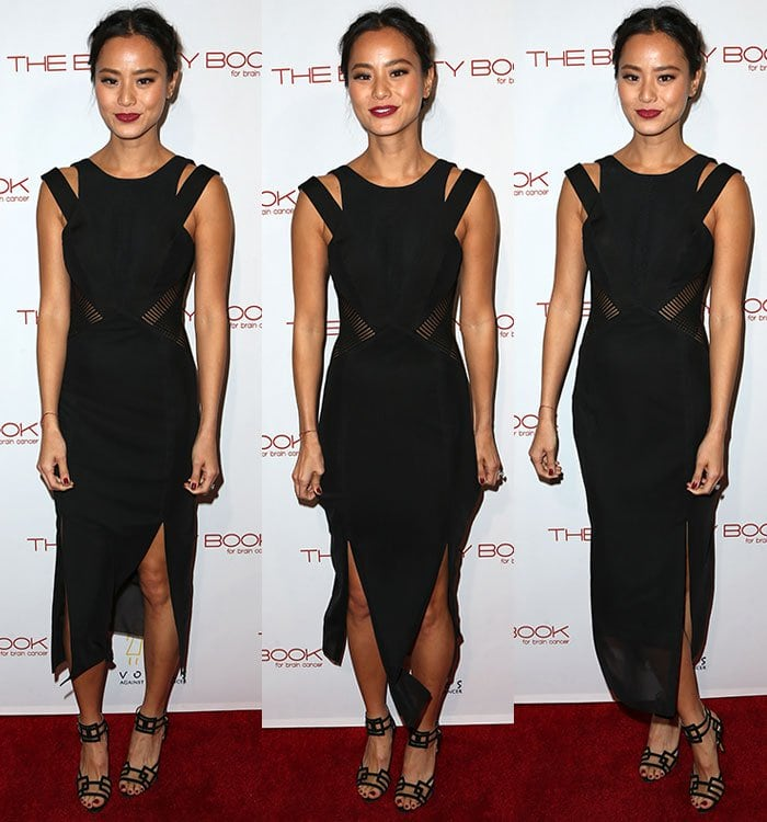 Jamie-Chung-black-strappy-dress-cutout-sides-slits