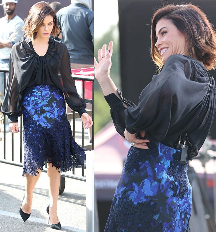 Jenna Dewan-Tatum smiles and waves to fans