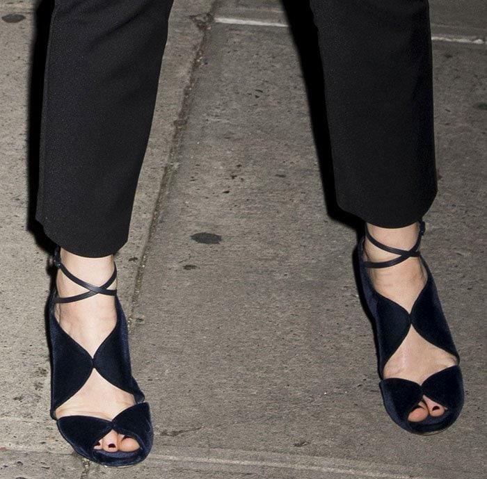 Jennifer-Lawrence-Casadei-Velvet-Crisscross-sandals