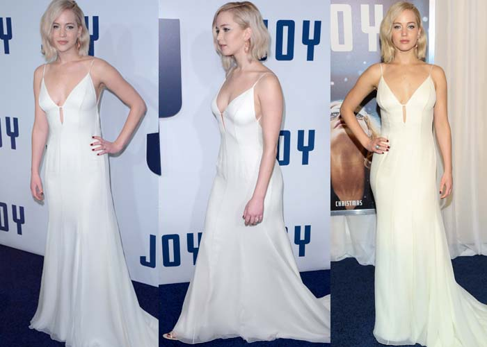 """Jennifer Lawrence wears a floor-length white Christian Dior dress at the premiere of """"Joy"""""""