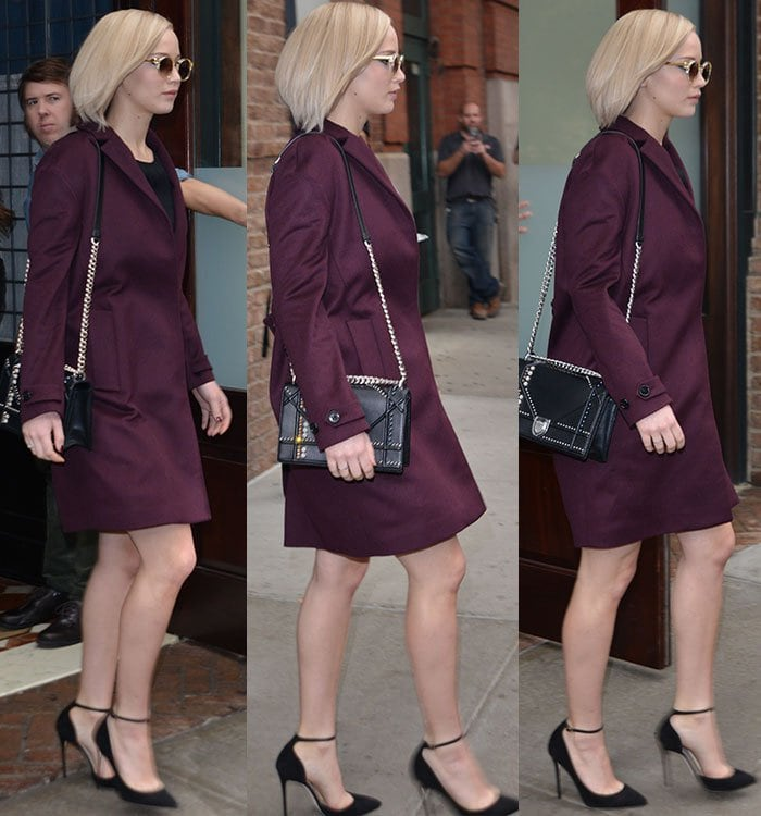 Jennifer-Lawrence-burgundy-coat-black-dress