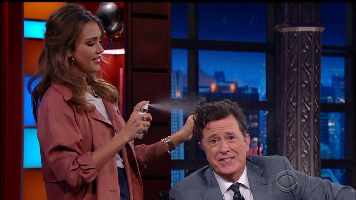 Jessica promotes her Honest product line and gives Stephen Colbert a new hairstyle in September 2016