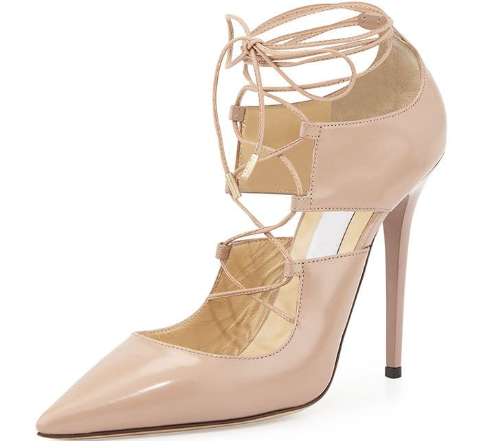 Jimmy Choo Hoops Lace-Up Leather Pumps Nude