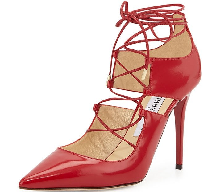 Jimmy Choo Hoops Lace-Up Leather Pumps Red