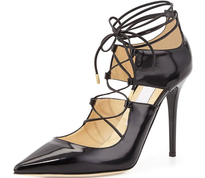 Jimmy Choo Hoops Lace-Up Leather Pumps