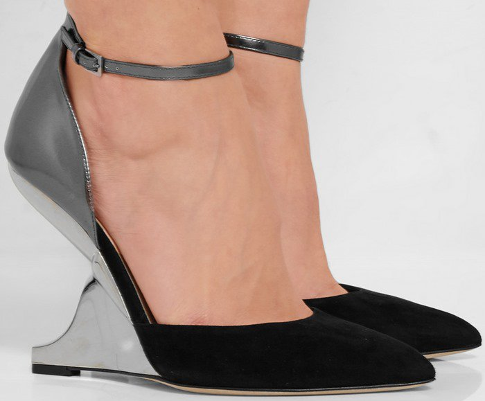 Give evening looks a modern feel and style these wedge shoes with a blouse and midi skirt