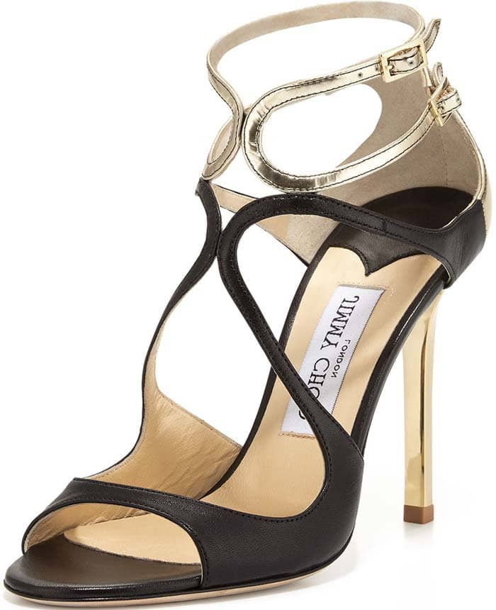 """Jimmy Choo """"Lang"""" Strappy Leather Sandals in Black/Gold"""