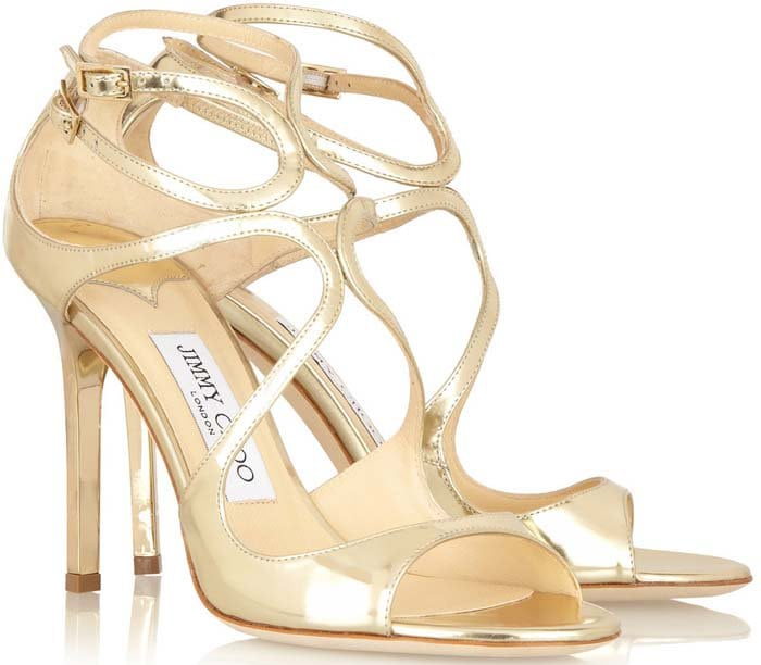 """Jimmy Choo """"Lang"""" Strappy Mirror Leather Sandals in Gold"""