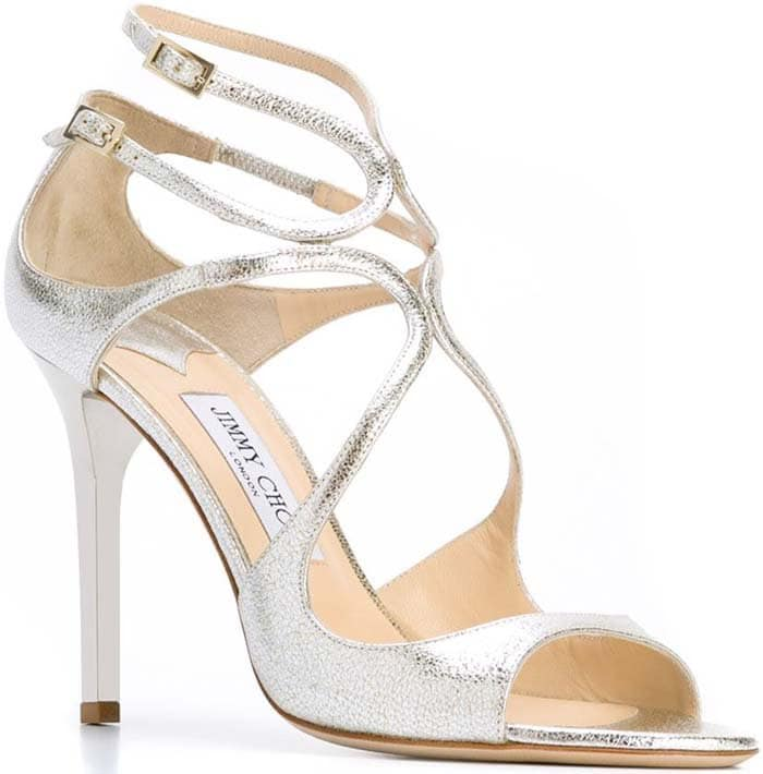 """Jimmy Choo """"Lang"""" Strappy Crackled Leather Sandals in Silver"""