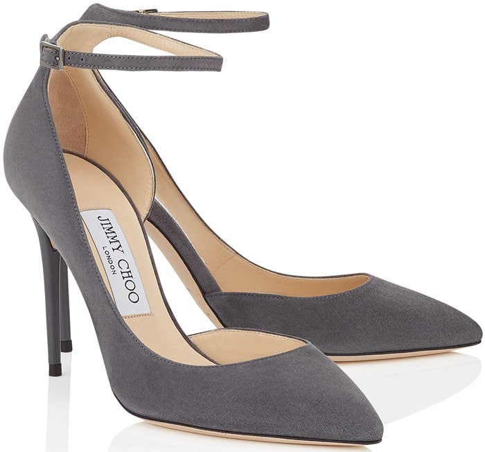 A curvy half d'Orsay pump boasts a svelte, streamlined silhouette, slender ankle strap and buttery soft suede upper for a sleek look with style to spare