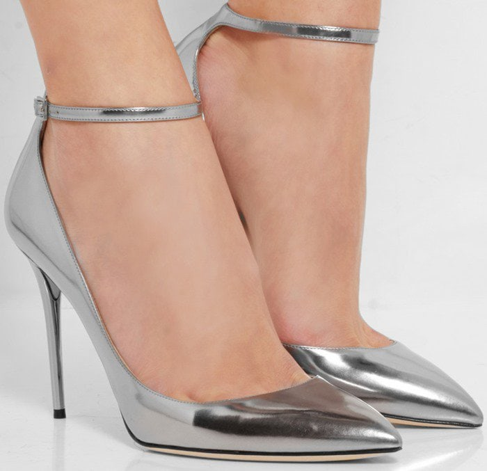 Silver metallic Jimmy Choo Lucy ankle-strap pumps
