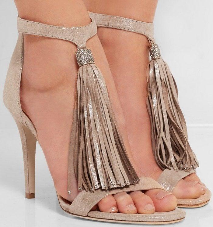 Jimmy Choo Viola crystal-embellished tasseled suede sandal